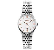 SKMEI Damen Kleideruhr Armbanduhr Japanisch Quartz Kalender Wasserdicht Edelstahl Band Cool Silber