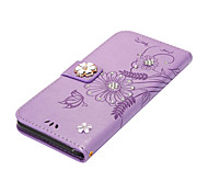 Case for Apple iPhone 7Plus 7 Card Holder Wallet Rhinestone with Stand Flip Magnetic Full Body Butterfly Flower Hard PU Leather 6sPlus 6Plus 6s 6 5s 4