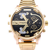 SHI WEI BAO Men's Sport Watch Japanese Quartz Calendar / date / day Large Dial Dual Time Zones Stainless Steel Band Gold