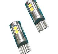 Material de alumínio completo design de lente 5w t10 can-bus led bulbo cor branca (2pcs)