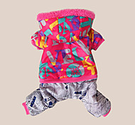 cheap -Dog Coat Hoodie Jumpsuit Dog Clothes Warm Breathable Casual/Daily Letter & Number Costume For Pets