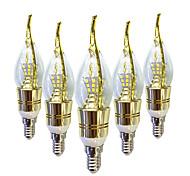 Недорогие -6W E14 LED лампы в форме свечи C35 40 светодиоды SMD 2835 Тёплый белый Белый 550-600lm 2800-3200 6000-6500.