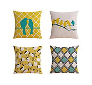 cheap -4 pcs Linen Pillow case Sofa Cushion Travel Pillow Body Pillow Bed Pillow Pillow Cover, Geometric Graphic Prints Animal Rustic Floor