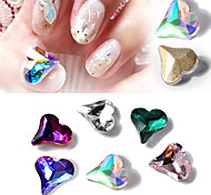 10PCS Nail  Art Drill Stick Act the Role Ofing Iridescence Tilt The Peach Heart Shape Diamond 6 Color Optional