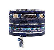 Недорогие -Жен. Кожаные браслеты Бижутерия Богемные Природа Турецкий Мода Кожа Кристаллы Квадратный Бижутерия Свадьба Годовщина Вечерние Для