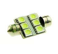 Недорогие -36мм 6x5050 SMD LED 100Lm зеленые огни гирлянда купол чтение карту номерного знака лампочку для автомобиля (DC 12V)