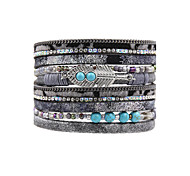 Fashion Women Multi Rows Natural Stone Set Rhinestone Magnet Wrap  Leather Bracelet