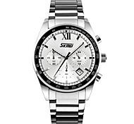 Недорогие -SKMEI Муж. Модные часы Наручные часы Кварцевый Нержавеющая сталь Группа Серебристый металл