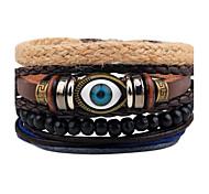 Men's Leather Bracelet Strand Bracelet Wrap Bracelet Handmade Punk Adjustable Personalized Leather Wood Round Evil Eye Jewelry For Gift