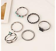 Women's Girls' Midi Rings Turquoise Geometric Cute Style Bohemian Simple Style Alloy Circle Geometric Irregular Jewelry ForGift Daily