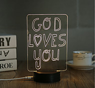 1 Set, Popular Home Acrylic 3D Night Light LED Table Lamp USB Mood Lamp Gifts, God loves you
