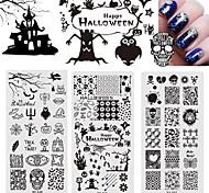 Halloween Stamping Plates Nail Art Templates New Stainless Steel Ghosts Skulls Pumpkin Crow Stencils Polish Tools