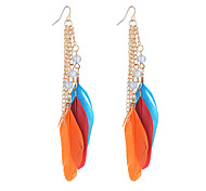 6 Colors Popular Fashion Bohemia Beads Feather Earrings Long Tassel Pendant Earrings For Women Jewelry Accessories