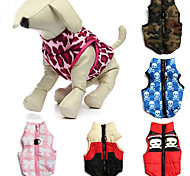 Cat Dog Coat Vest Dog Clothes Casual/Daily Keep Warm Skulls Camouflage Red Blue Pink Camouflage Color Red/White Costume For Pets