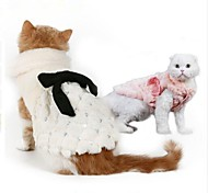 Cat Dog Sweatshirt Dog Clothes Party Keep Warm New Year's Solid White Pink Costume For Pets