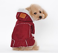 Dog Coat Dog Clothes Party Casual/Daily Keep Warm Sports Solid Fuchsia Brown Costume For Pets