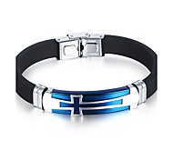 Men's Bracelet Handmade Fashion Hip-Hop Personalized Simple Casual Unique Titanium Steel Silicone Bangle Sport Jewelry For Birthday