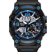baratos -SMAEL Homens Relógio Esportivo Relogio digital Relógio de Moda Relógio de Pulso Digital Alarme Impermeável LED Dois Fusos Horários