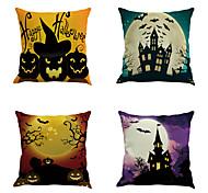 Set Of 6 Halloween Pillow Cover Novelty Creative Hallowmas Pumpkin Cushion Cover Square  Pillow Case