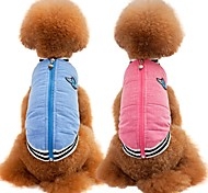 Cat Dog Coat Vest Dog Clothes Party Casual/Daily Keep Warm Sports Solid Blue Pink Costume For Pets