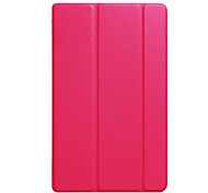 For Case Cover with Stand Auto Sleep / Wake Translucent Origami Full Body Case Solid Color Hard PU Leather for Amazon new fire HD8 2017