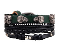 cheap -Men's Leather Bracelet Wrap Bracelet Personalized DIY Handmade Fashion Rock Leather Alloy Skull Jewelry Casual Stage Club Going out Street