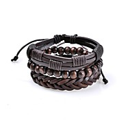 Men's Leather Bracelet Jewelry Basic Vintage Bohemian Adjustable Rock Cute Style Handmade Costume Jewelry Leather Circle Geometric Jewelry