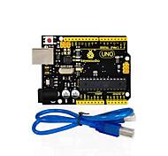 1Pcs Keyestudio UNO R3 Board(Original Chip) 1Pcs USB CableManual 100% Compatible for Arduino Uno R3