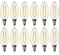 4W Bombillas de Filamento LED C35 4 leds COB Regulable Decorativa Blanco Cálido 400lm 2700K AC 100-240 AC 110-130V