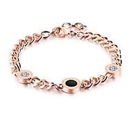 The Korean version of lady titanium steel Roman numeral round cake with diamond gold bracelet