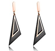 European and American long style black oblique triangular geometric pattern earrings earrings in the ear of a woman's everyday skin accessories