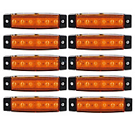cheap -ZIQIAO 10Pcs 12V 6LED Side Marker Indicators Lights Lamp For Car Truck Trailer Lorry Bus 6 LED Amber/White/Red