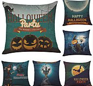 cheap -Set of 6 Happy Halloween Linen Cushion Cover Home Office Sofa Square Pillow Case Decorative Cushion Covers Pillowcases (18*18Inch)