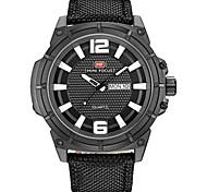 cheap -Men's Fashion Watch Quartz Fabric Band Casual Black Blue Khaki