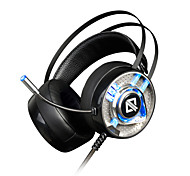 cheap -AJAZZ AX360 Headband Wired Headphones Dynamic Stainless Steel Plastic Gaming Earphone with Volume Control with Microphone Noise-isolating