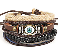 Men's Women's Wrap Bracelet Leather Bracelet Jewelry Fashion Vintage Bohemian Punk Hip-Hop Handmade Leather Alloy Round Geometric Evil Eye