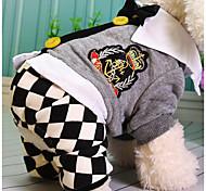 Недорогие -Собака Комбинезоны Одежда для собак В клетку Серый Хлопок Костюм Для домашних животных На каждый день