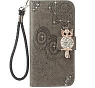 pour étui porte-carte porte-monnaie strass avec motif flip en relief motif plein corps cuir hibou hard pu cuir pour samsung a5 (2017)