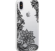 For iPhone X iPhone 8 iPhone 8 Plus Case Cover Ultra-thin Transparent Pattern Back Cover Case Lace Printing Flower Soft TPU for Apple