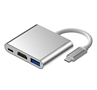 MEISHI Type-C to USB 3.0 HDMI USB-C OTG High Speed Adapter For MacBook MacBook Pro 10.8cm Aluminum