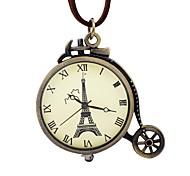 Homens Mulheres Relógio de Bolso Chinês Mecânico - de dar corda manualmente Gravação Oca Mostrador Grande Couro Banda Vintage Torre Eiffel