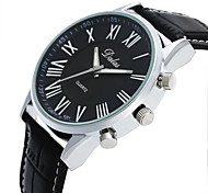 Men's Fashion Watch Chinese Quartz Large Dial Leather Band Vintage Casual Black Brown