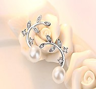 Women's Stud Earrings Pearl AAA Cubic Zirconia Fashion Hypoallergenic Pearl Sterling Silver Leaf Jewelry For Daily Work
