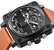 Недорогие -Муж. Модные часы Наручные часы Уникальный творческий часы Японский Кварцевый Календарь С двумя часовыми поясами Натуральная кожа Группа