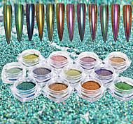 Недорогие -12pcs/set Акриловый порошок Гель для ногтей Порошок блеска порошок Зеркальный эффект Лазерная голографическая Блеск и сияние Дизайн ногтей