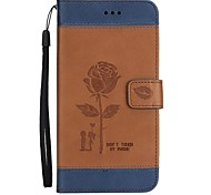 cheap -Case For LG K10(2017) K8(2017) Case Cover Rose couple Pattern PU Material With Strap Phone Case