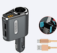 HYUNDAI Car Charger Fast Charge Display Voltage 1 Outlets 3 USB Ports 3.1A DC 12V-24V With Type-C Cable Phone Holder