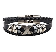 cheap -Men's Leather Leather Bracelet - Personalized Hip-Hop Round Black Brown Bracelet For Club Street