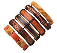 Муж. Жен. Кожаные браслеты Богемия Стиль Простой стиль Кожа Круглой формы Бижутерия Назначение Повседневные На выход