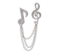 cheap -Women's Brooches Rhinestone Fashion Rock Rhinestone Alloy Music Notes Silver Jewelry For Casual Stage